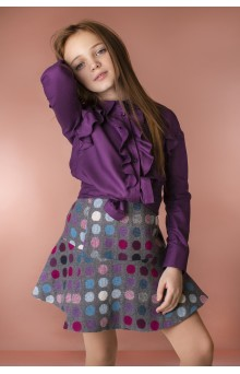 Блуза з воланами фіолетова
