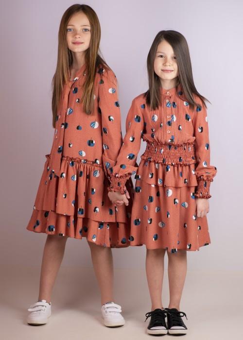 Коралова сукня-сорочка приталена