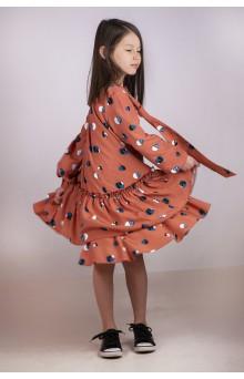 Коралова сукня А-силуету з бантом