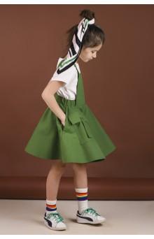 Сарафан з накладними кишенями зелений