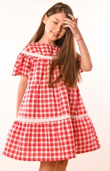 Платье красное в клетку с кружевом
