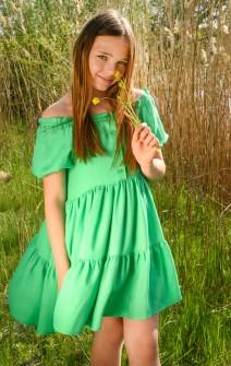 Зелена сукня з рукавами-ліхтариками