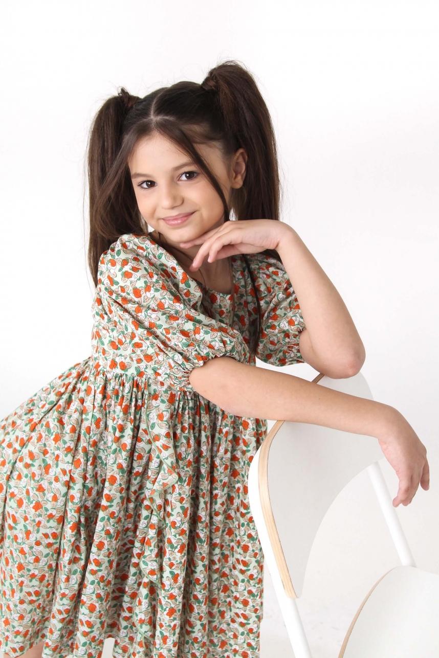 Платье пышное в мелкие цветы оранжево-зеленое