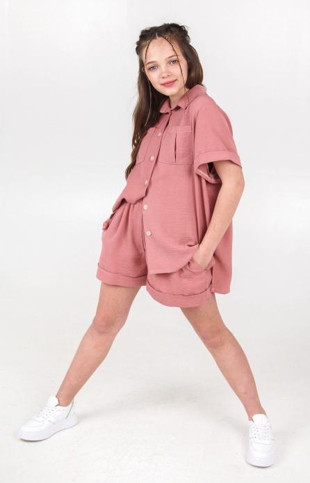 Легкая рубашка оверсайз розовая