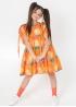 Помаранчева сукня з рукавами-буфами на зав'язках