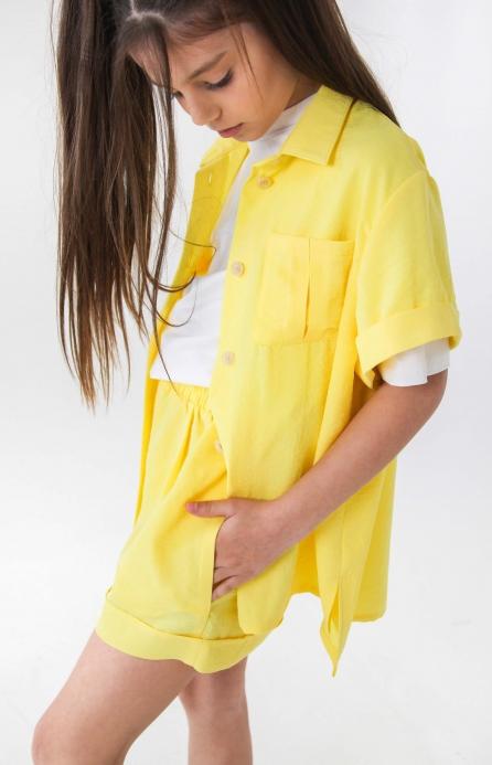 Легкая рубашка оверсайз желтая