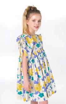 Голубо-желтое платье с рукавами-буфами на завязках