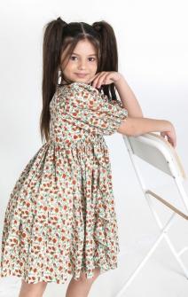 Сукня пишна в дрібні квіти помаранчево-зелена