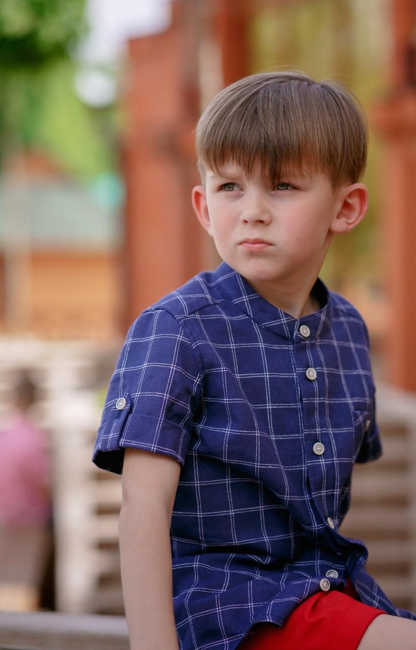 Рубашка для мальчика льняная синяя