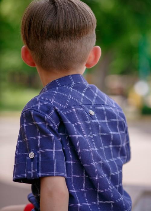Сорочка для хлопчика лляна синя