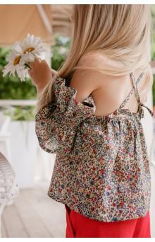 Топ в дрібну квіточку з фантазійними рукавами