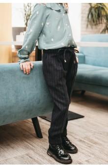 Вкорочені шерстяні брюки сині
