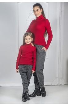 В'язані гольфи для мами і донечки червоні
