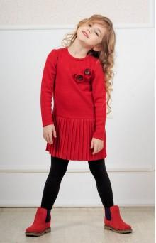 Сукня в'язана червона дитяча із заниженою талією
