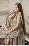 Квіткові сарафани для мами і донечки жовто-сині